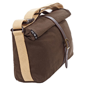 Khaki Brompton Roll Top Bag (Waxed Canvas) - side