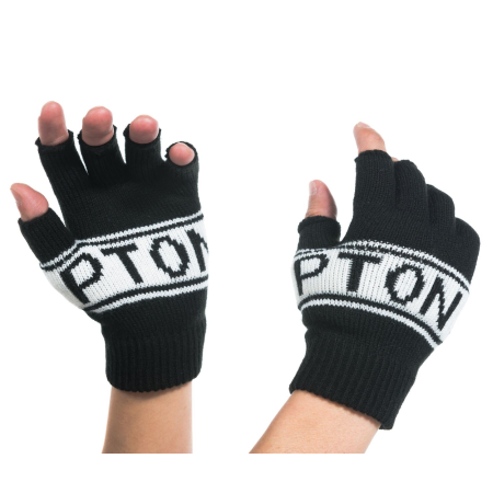 Brompton Logo Knitted Fingerless Gloves - on