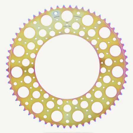 Bespoke Chainrings 60T De Luna Oil Slick 130BCD 3/32 - gold colour side