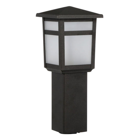 Hampton Bay Black Outdoor Integrated LED Square Bollard Landscape Path Light with Frosted Glass