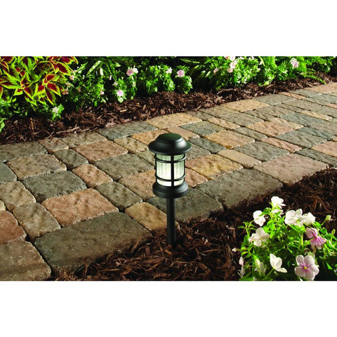 Hampton Bay Black Outdoor Landscape Path Light with Ribbed Glass Lens