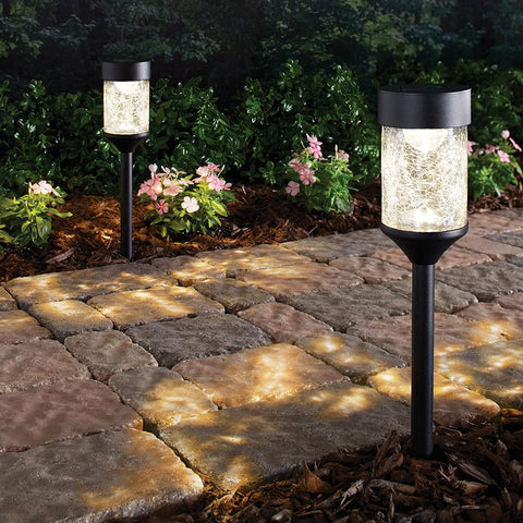Hampton Bay Solar Black Outdoor Path Light with Crackled Glass (2-Pack)