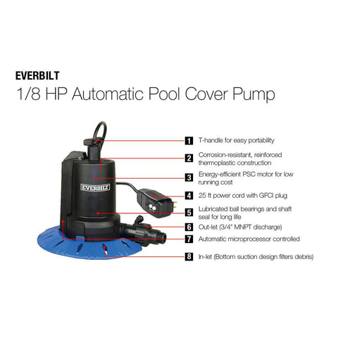 Everbilt 1/8 HP Pool Cover Pump