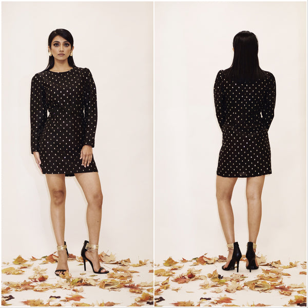 Black Puff Sleeve Short NILSA Cocktail Dress