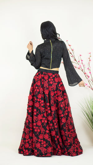 BISOU Skirt in Red & Black - Dee Kapadiya