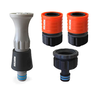 Holman 12 mm Plastic Hi-flow Hose Nozzle & Connector Set Grip N Lock