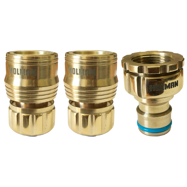 Holman 18 mm Brass Hose Connector Set Grip N Lock