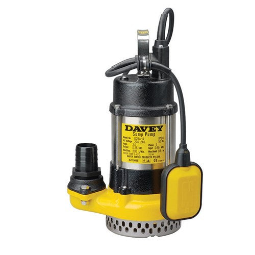Davey Dewatering Sump Pump w/ Auto Float Switch 0.25kW