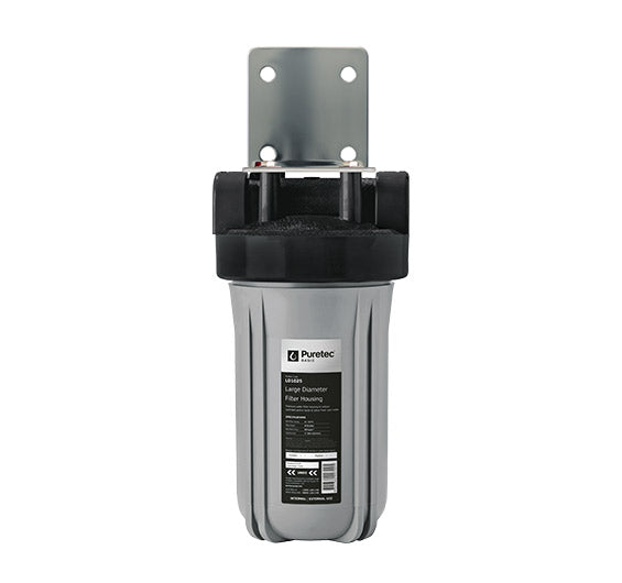 "Puretec Large Diameter Filter Housing Kit 10"" - Silver w/ Black Head 1"" connection"