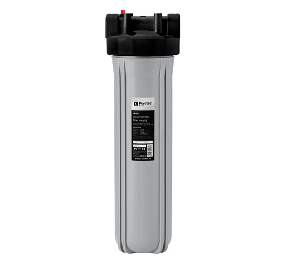 "Puretec Large Diameter Filter Housing Kit 20"" - Silver w/ Black Head 1 1/2"" connection"