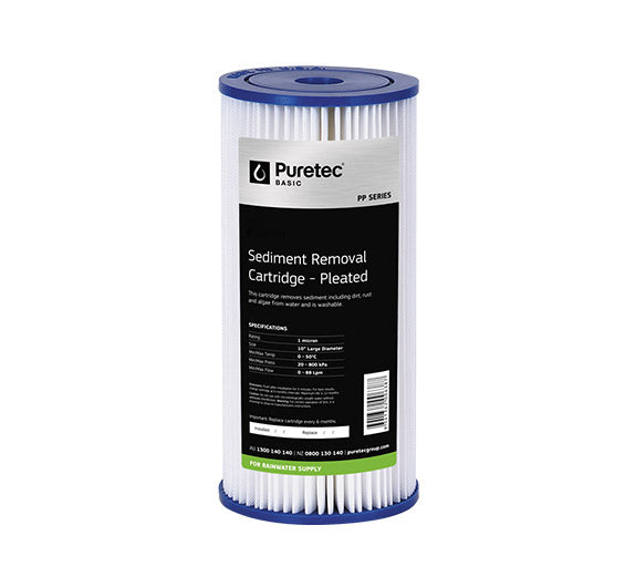 "Puretec Pleated Sediment Large Diameter Cartridge 10"" 20 Micron"