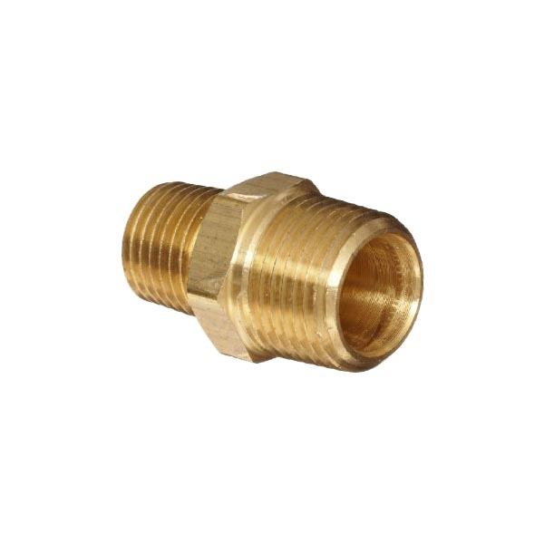 "Brass Threaded Reducing Hex Nipple 1/2""x1/4"""