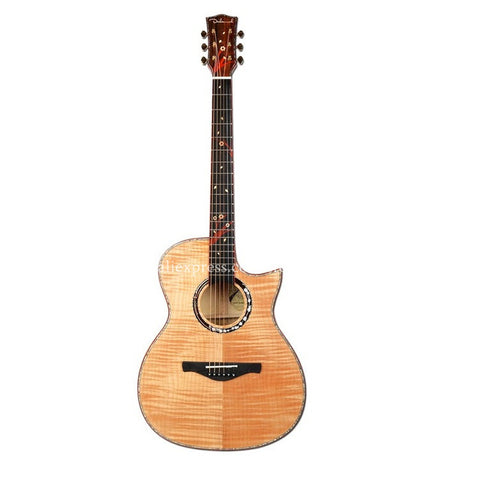 "40"" Cutaway Electric Acoustic Guitars,Full Flame Maple Top/Body guitarra eletrica With LCD Pickup +Hard case,solid top guitar"