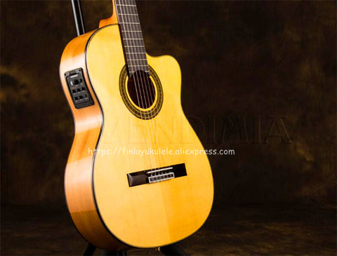 "39"" Flamenco guitar With Solid Spruce/Aguadze Body ,Professional Handmade Classical guitar With pickup tuner,VFG-AS"