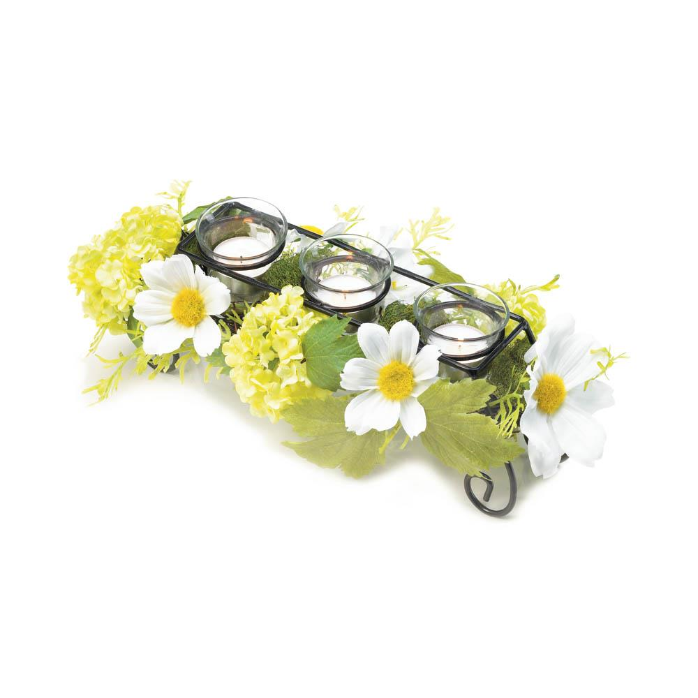 Blooming Faux Daisy Candleholder
