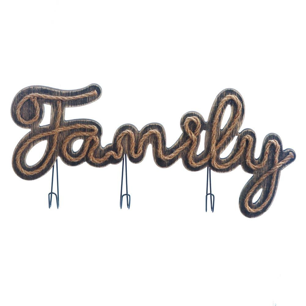 Family Sign With Hooks