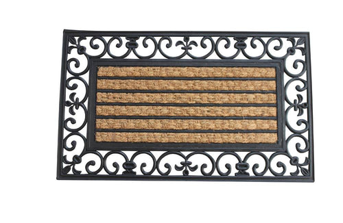 Striped Mat With Fleur-de-lis Border