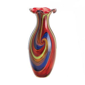 Swirl Of Colors Art Glass Vase