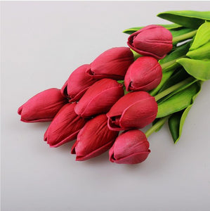 20 Pcs/lot Tulip Artificial Flowers Wholesale Real Touch PU Artificial Bouquet Flowers For Home Gift Wedding Decorative Flowers