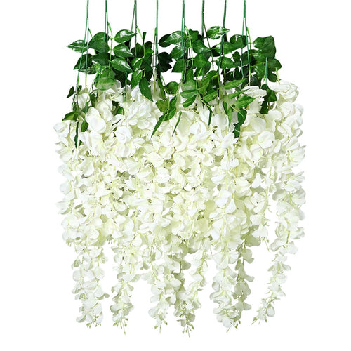 UNOMOR 8 Pcs Artificial Silk Wisteria Ivy Vine Green Leaf Vine Garland Simulation Props 90CM for Party Wedding Home Decoration (White)