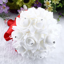Crystal Roses Pearl Bridesmaid Wedding Bouquet Bridal Artificial Silk Flowers