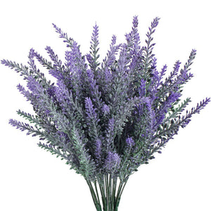 4pcs Artificial Flocked Lavender Bouquet in Purple Flowers Bridal Home DIY Floor Garden Office Wedding Decor