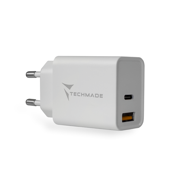 CARICATORE UNIVERSALE TYPE-C + USB 20W TECHMADE TM-TC046AC
