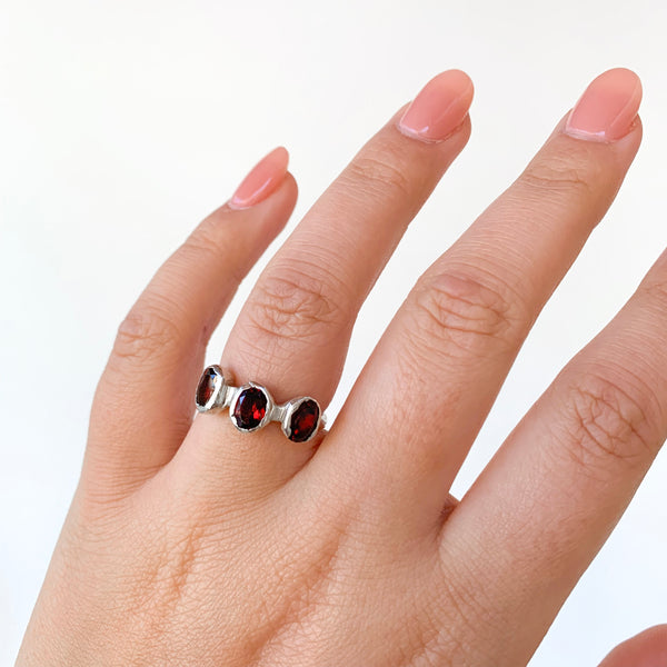 Three Garnet Ring