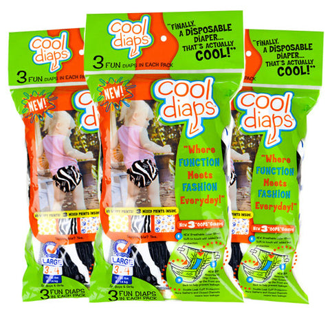 Cool Diaps–3 Fun Diaps in Each Pack