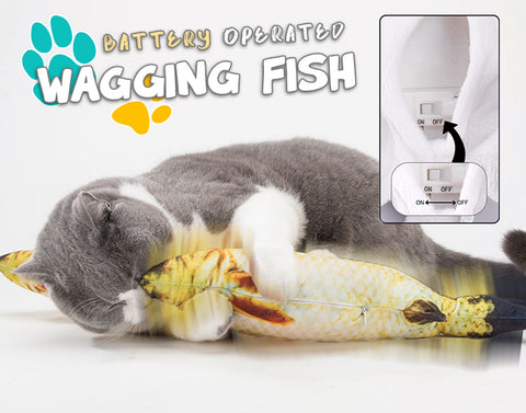 Cat Wagging Fish Realistic Plush