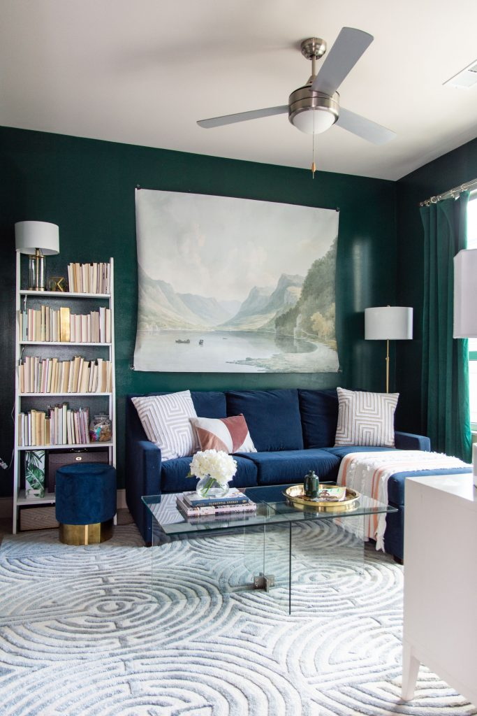 Dark green living room decor with AllModern modern home decor, Behr Dark Everglade wall paint color on Thou Swell