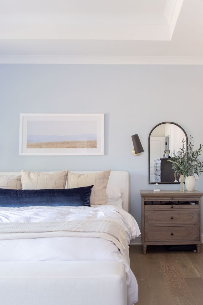 Light blue master bedroom paint color, soothing bedroom design, master decor ideas by Kevin O'Gara on Thou Swell #homedecorideas #interiordesign #homedesign #interiordesigner