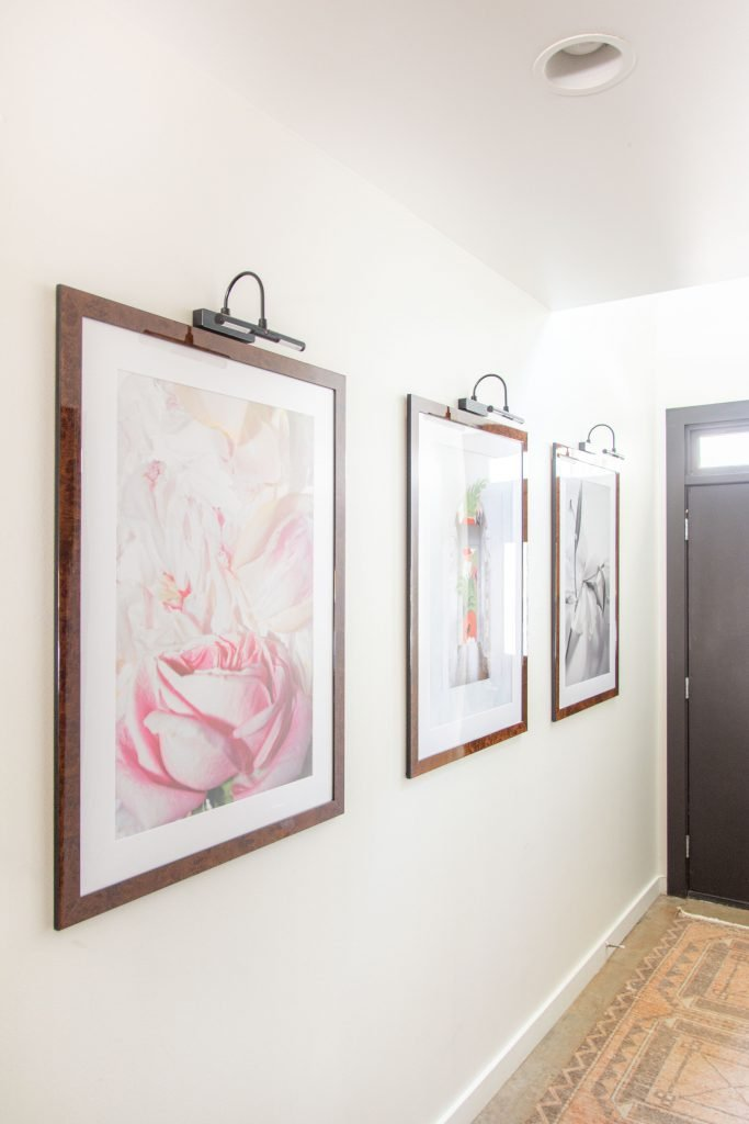 Fine art photography art prints by Kevin Francis Design gallery wall ideas with picture lights, hallway wall decor, hallway ideas by Kevin O'Gara on Thou Swell #hallway #hallwaydesign #halldesign #entryway #gallerywall #gallerywallideas #artwork