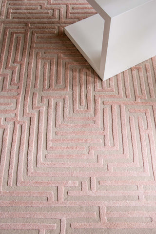 Pretty pink patterned rug with soft tufted silk and wool maze design by Kevin Francis O'Gara