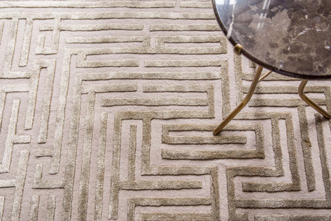 Tan maze rug design by Kevin Francis Design