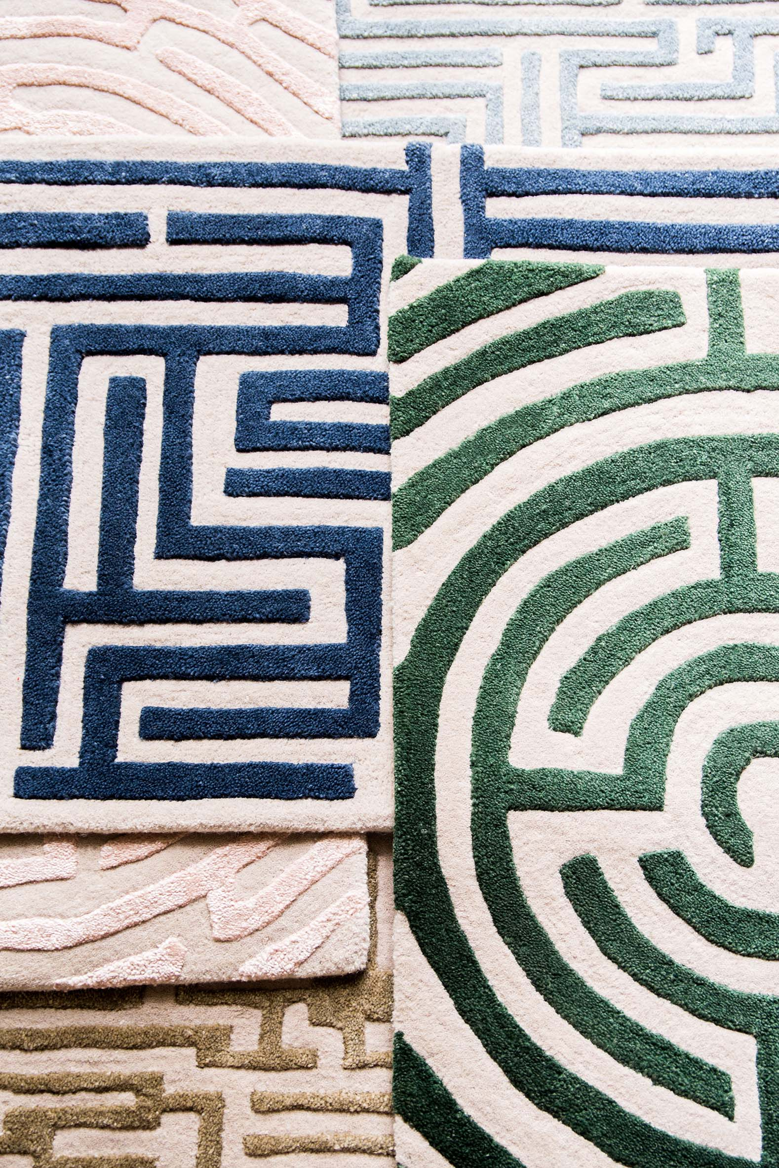 Luxury maze rug designs inspired by hedge garden mazes from above, from Kevin Francis Design