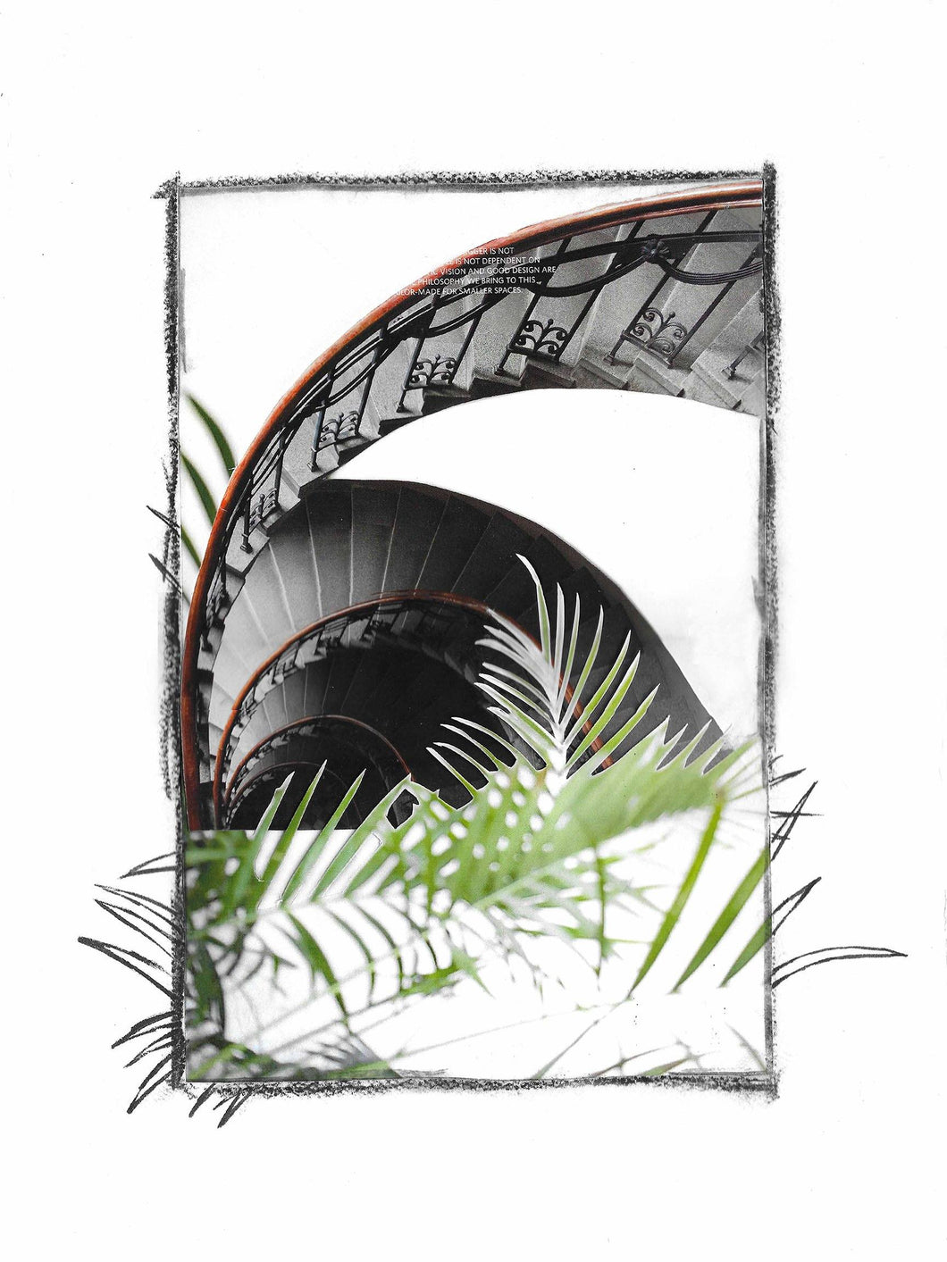 Palm Staircase Mixed Media Collage - Kevin Francis Design