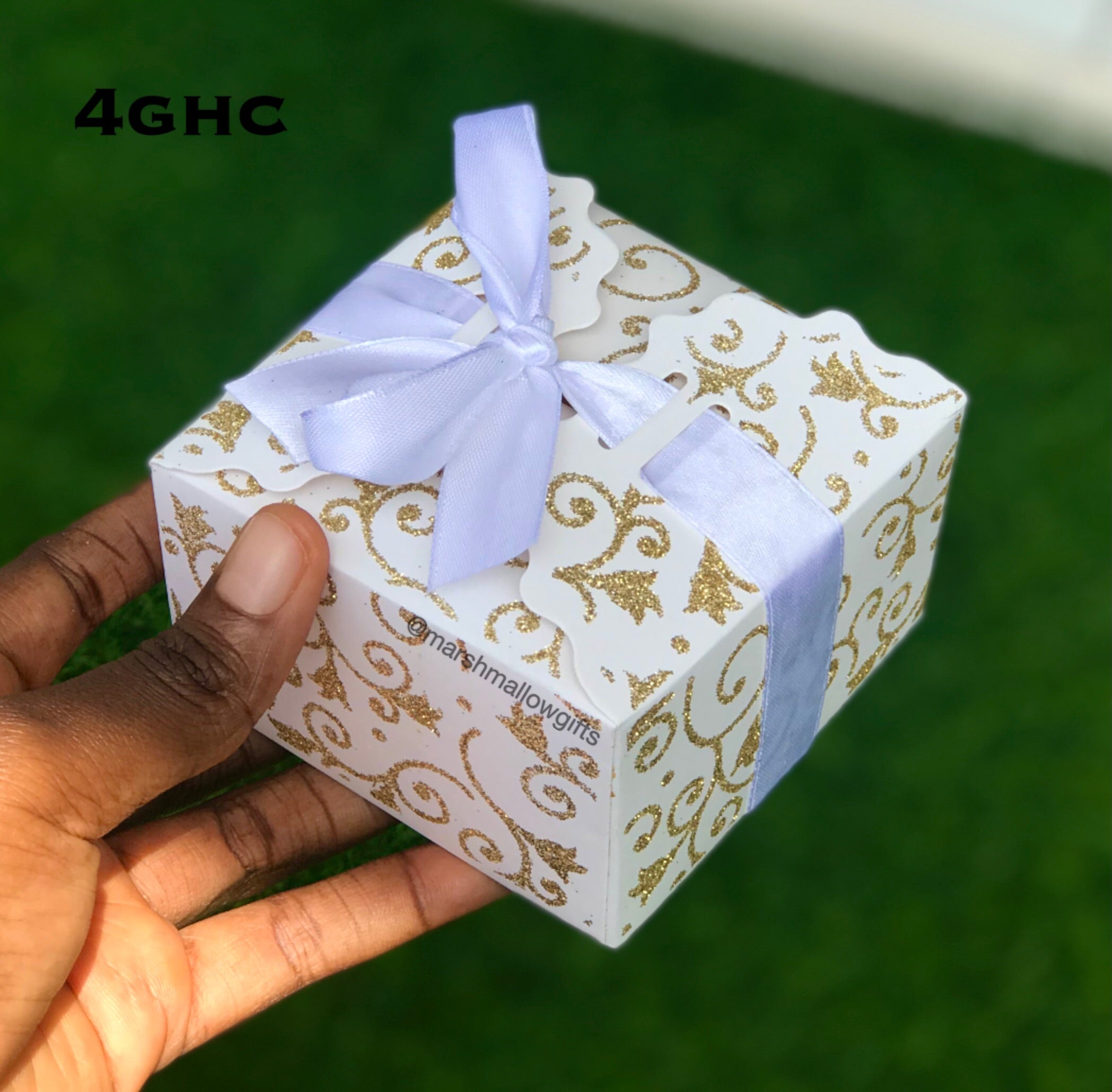 White glitter favour box