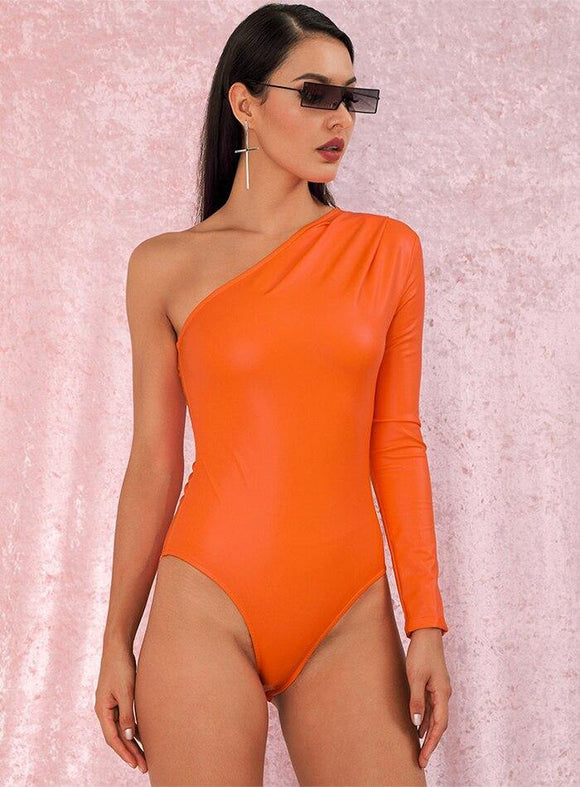 Body - ZELANE BOUTIQUE - Body orange en similicuir mat et asymétrique