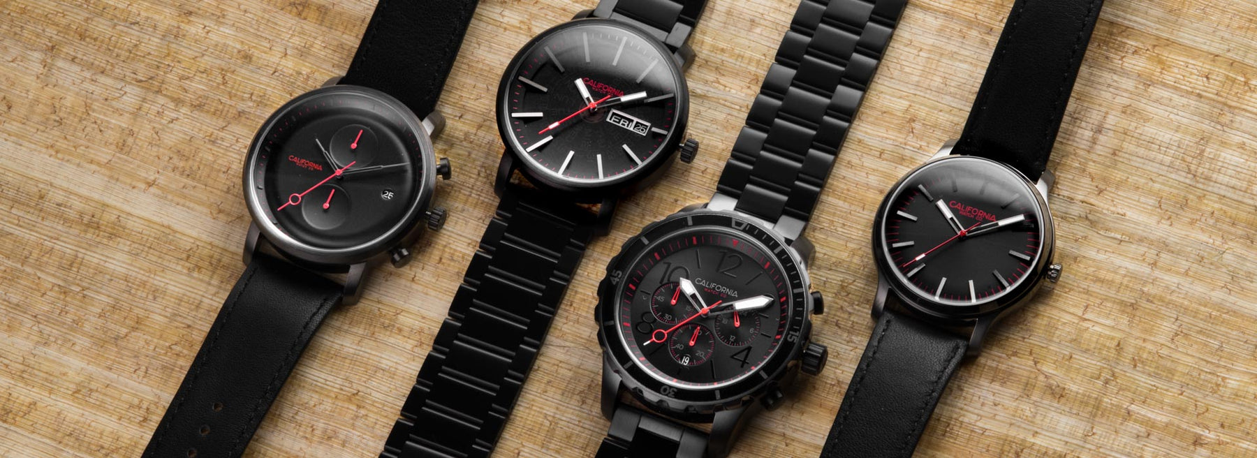 california watch co black red models