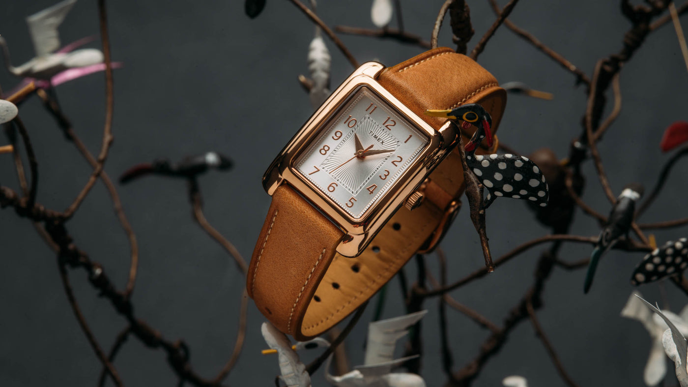 timex meridian 25mm rosegold silver tw2r89500za sitting in a tree