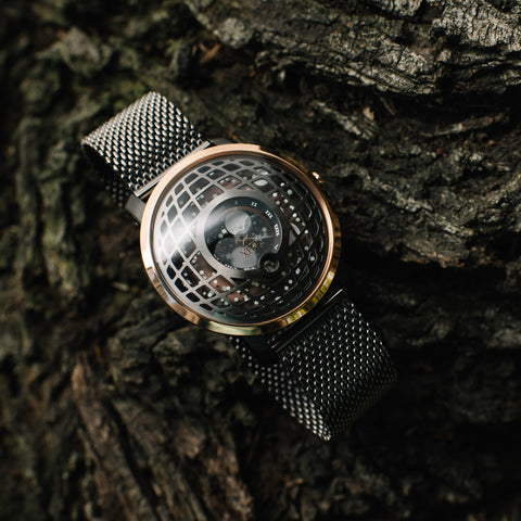 Xeric Trappist-1 Moonphase Rose Gold watch with metal mesh strap