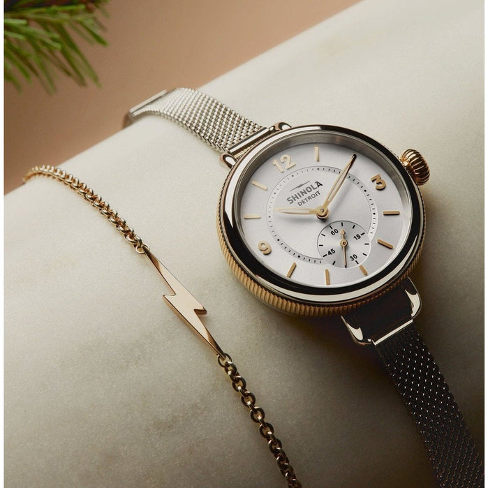 Shinola Birdy 34mm Silver Gold Mesh angled shot picture