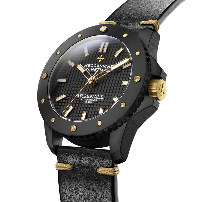Meccaniche Veneziane Arsenale Automatic 45mm Black Gold angled shot picture