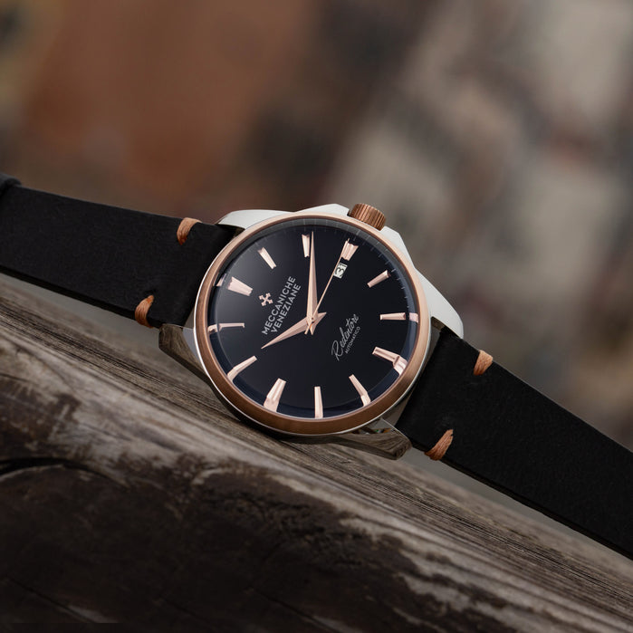 Meccaniche Veneziane Redentore Automatic 40mm Black Rose Gold angled shot picture