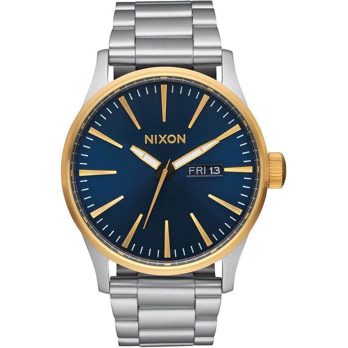 Nixon Sentry SS Gold/Blue Sunray angled shot picture