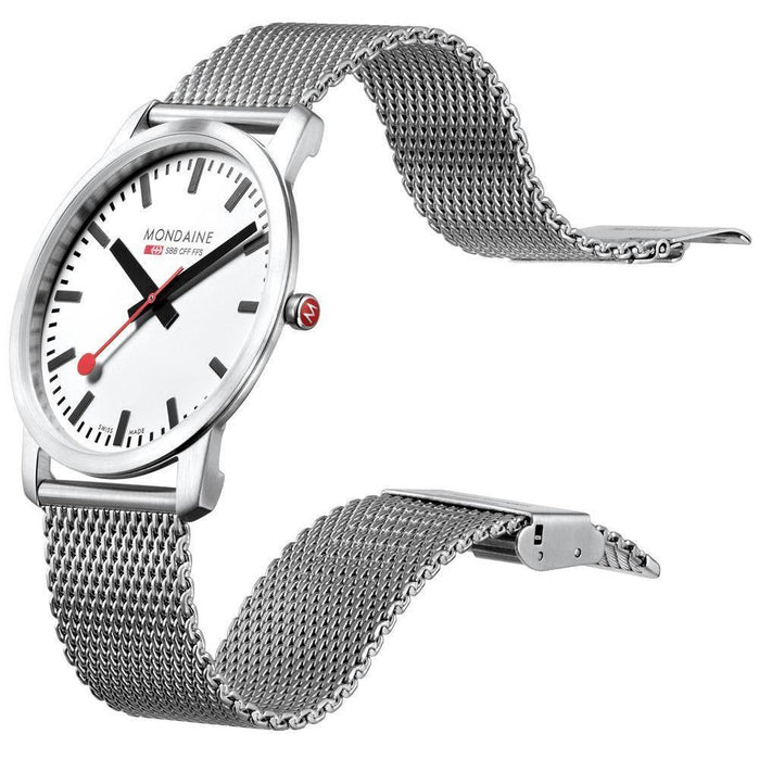 Mondaine Ultra Thin 36mm Simply Elegant Mesh angled shot picture