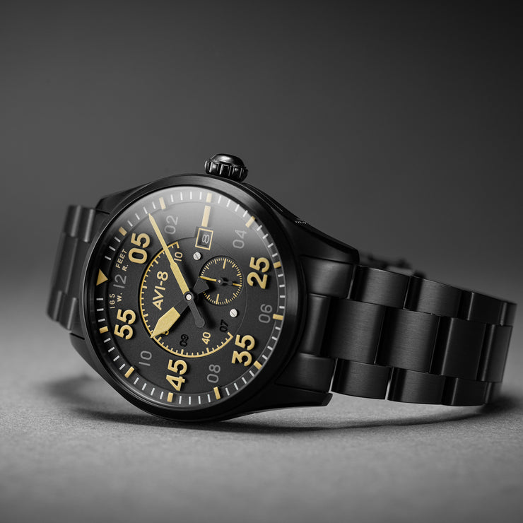AVI-8 Spitfire Type 300 Automatic Midnight Chrome Yellow SS