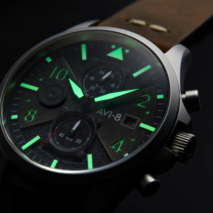 AVI-8 Hawker Hunter Bulman Edition Chrono Black Brown angled shot picture