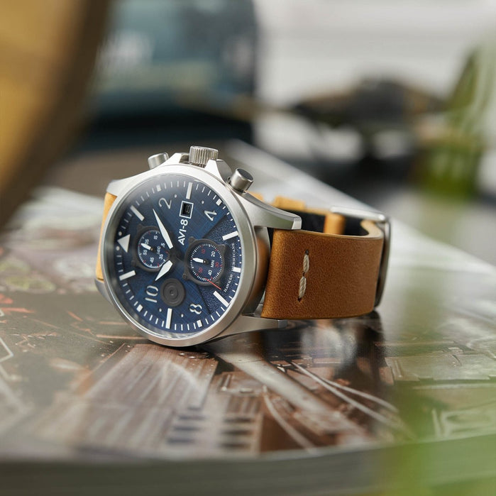 AVI-8 Hawker Harrier II Bulman Edition Chrono Navy Tan angled shot picture